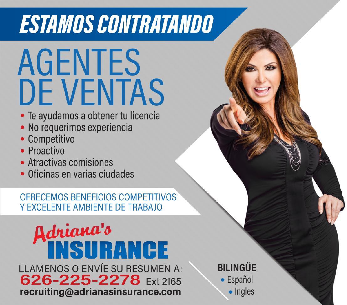 Adrianas Insurance te ofrece una oportunidad de empleo
