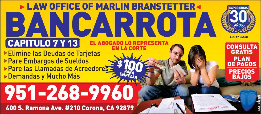 LAW OFF. OF MARLIN BRANSTETTER